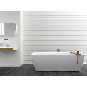 Boutique Ezra White Satin Ceramic Wall Tile 900 x 300mm