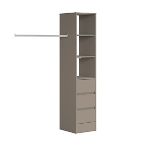Spacepro Wardrobe Storage Kit Tower Unit with 3 Drawers Stone Grey - 450mm