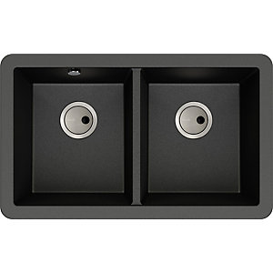 Abode Matrix Square 2 Bowl Granite Undermount Composite Kitchen Sink - Metallic Black