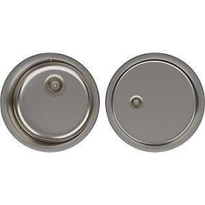 Image of Abode Revolve 1.0 Round Bowl Kitchen Sink & Drainer Pack - Stainless Steel