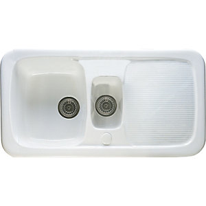 Image of Wickes Ceramic Farmhouse 1.5 Bowl Sink - White