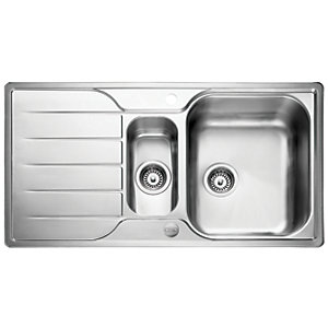 Image of Leisure Albion 1.5 Bowl Reversible Stainless Steel Kitchen Sink