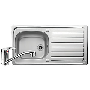 Image of Leisure Linear 1 Bowl Reversible Stainless Steel Kitchen Sink and Single Lever Tap Pack