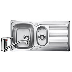 Leisure Linear 1.5 Bowl Reversible Stainless Steel Kitchen Sink and Single Lever Tap Pack