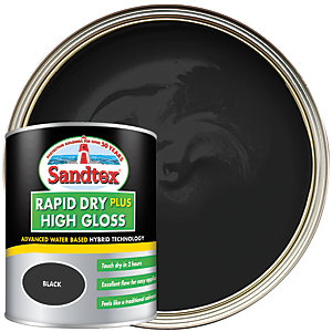Sandtex Rapid Dry Plus High Gloss Paint - Black 750ml