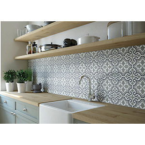 Wickes Melia Sage Patterned Ceramic Wall & Floor Tile 200 x 200mm