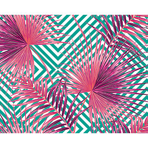 ohpopsi Pink Palm Leaves Wall Mural