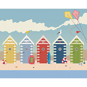 Image of Beach Huts Large Wall Mural 3m (Wide) x 2.4m (High)