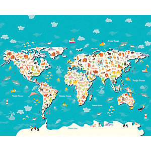 Image of Animals of the World Map Large Wall Mural 3.5m (Wide) x 2.8m (High)