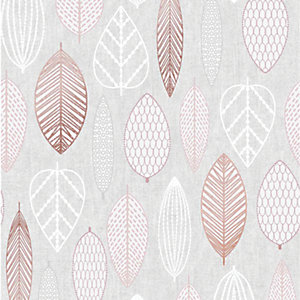 Superfresco Easy Scandi Leaf Wallpaper Pink - 10m