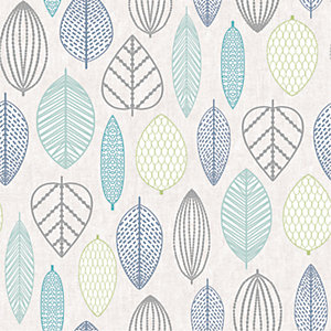 Superfresco Easy Scandi Leaf Wallpaper Blue - 10m