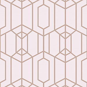 Image of Superfresco Easy Albany Geo Wallpaper Pink - 10m