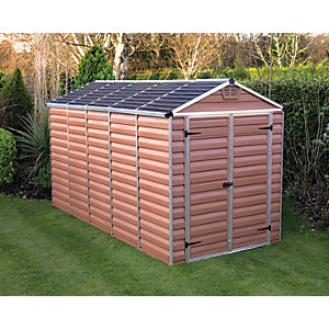 Palram 6x12ft Skylight Double Door Plastic Shed Amber Best Price, Cheapest Prices