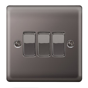 Wickes 10A 3 Gang 2 Way Switch Black Nickel Raised Plate