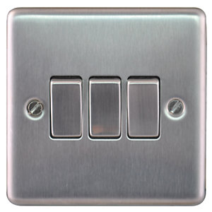 Wickes 10A 3 Gang 2 Way Switch Brushed Steel Raised Plate