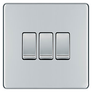 Wickes 10A Light Switch 3 Gang 2 Way Polished Chrome Screwless Flat Plate