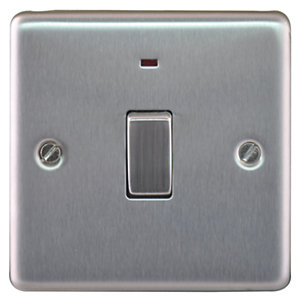 Image of Wickes 20A Double Pole Switch + LED 1 Gang Brushed Steel Raised Plate