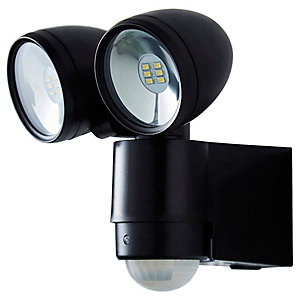 Sirocco Twin LED PIR Spot Light Black