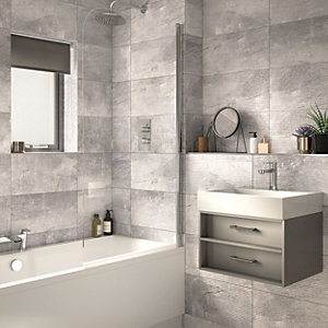 Wickes Manhattan Light Grey Structure Ceramic Wall Tile 500 X 250mm