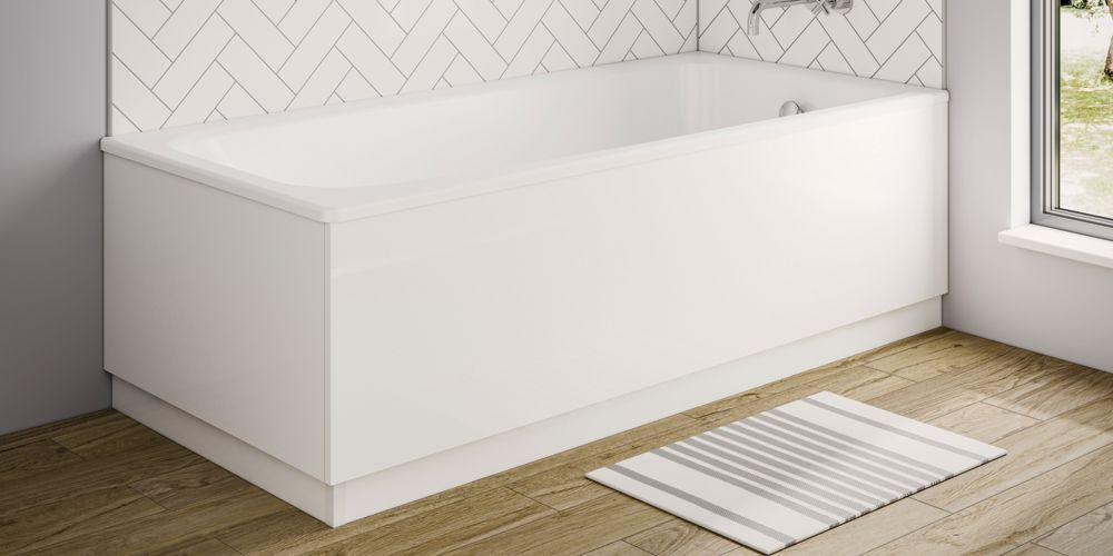 Wickes White Gloss Front Bath Panel with Plinth - 1700 x 600mm
