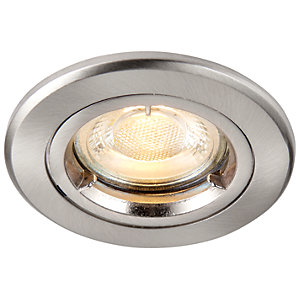 Image of Saxby GU10 Fire Rated Cast Fixed Downlight - Brushed Nickel