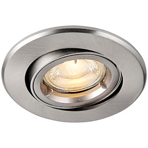 Image of Saxby GU10 Fire Rated Cast Adjustable Downlight - Brushed Nickel