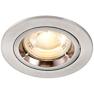 Image of Saxby GU10 Cast Fixed Downlight - Brushed Nickel