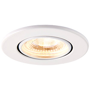 Saxby Integrated LED Fire Rated Adjustable Warm White Dimmable Downlight 500lm - Matt White