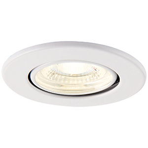Saxby Integrated LED Fire Rated Adjustable Cool White Dimmable Downlight 500lm - Matt White