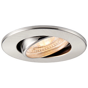 Saxby Integrated LED Fire Rated Adjustable Warm White Dimmable Downlight 500lm - Brushed Nickel