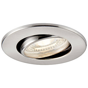 Saxby Integrated LED Fire Rated Adjustable Cool White Dimmable Downlight 500lm - Brushed Nickel
