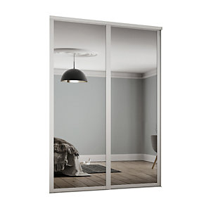 Spacepro 610mm White Shaker frame Single panel Mirror Sliding Wardrobe Door Kit