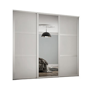 Wickes 914mm White Shaker frame 3 panel & 1x Single panel Mirror Sliding Wardrobe Door Kit