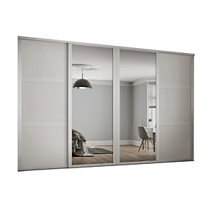 Wickes 610mm White Shaker frame 3 panel & 2x Single panel Mirror Sliding Wardrobe Door Kit
