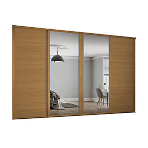 Spacepro Shaker Style 4 Oak Frame 3 Panel & Mirror Wardrobe Door Kit