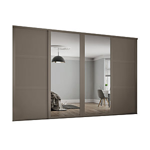 Spacepro Shaker Style 4 Stone Grey Frame 3 Panel & Mirror Wardrobe Door Kit