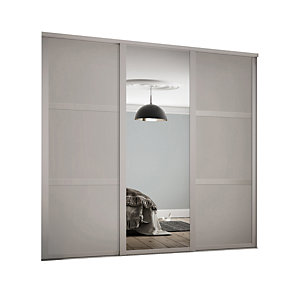Spacepro 762mm Cashmere Shaker frame 3 panel & 1x Single panel Mirror Sliding Wardrobe Door Kit