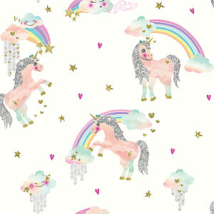 Arthouse Rainbow Unicorn White Wallpaper 10.05m x 53cm
