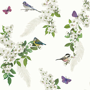 Arthouse Mitzu White Wallpaper 10.05m x 53cm