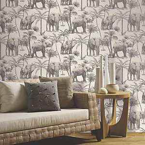 Arthouse Elephant Grove Charcoal Wallpaper 10.05m x 53cm