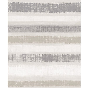 Arthouse Painted Stripe Chalk Grey Wallpaper 10.05m x 53cm