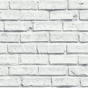 Arthouse White Brick Wallpaper 10.05m x 53cm