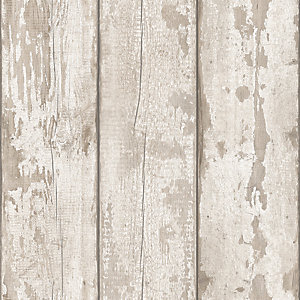 Arthouse White Washed Wood Wallpaper 10.05m x 53cm