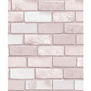 Arthouse Diamond Pink Brick Wallpaper 10.05m x 53cm