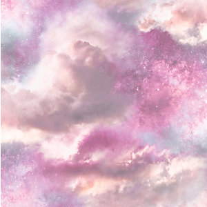 Arthouse Diamond Galaxy Purple/Blush Wallpaper 10.05m x 53cm