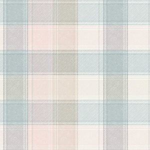 Arthouse Country Check Pink/Grey Wallpaper 10.05m x 53cm
