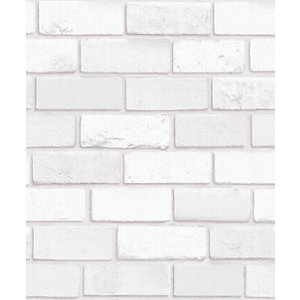 Arthouse Diamond White Brick Wallpaper 10.05m x 53cm