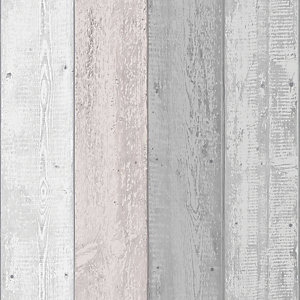 Arthouse Painted Wood Pink/Grey Wallpaper 10.05m x 53cm
