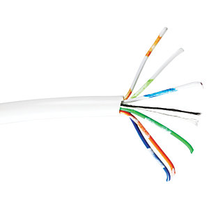 6 Core 3 Pair Telephone Flexible Cable White 100m
