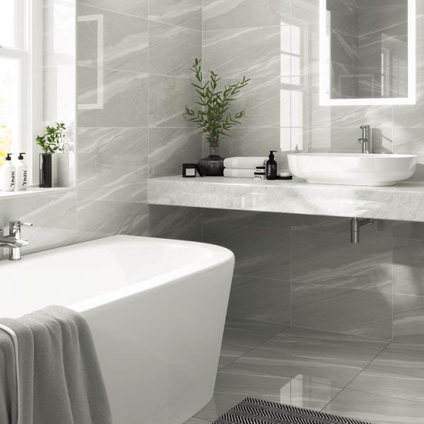 Wickes Olympia Light Grey Polished Stone Porcelain Wall & Floor Tile 600 X 300mm